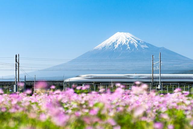 静岡県富士山を通る新幹線