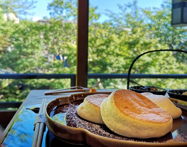 神奈川県川崎市・ダイニング和カフェ「茶寮 春待坂」芳醇こだわりパンケーキセットと庭園