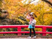紅葉を撮影する女性