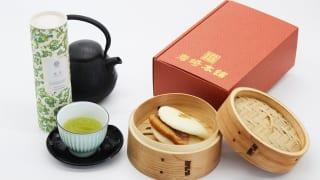 岩崎本舗長崎角煮まんじゅうと緑茶のセットイメージ