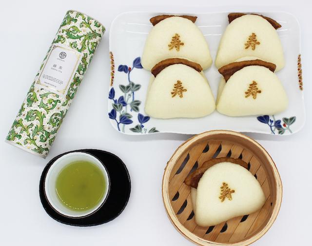岩崎本舗長崎角煮まんじゅうと緑茶のセット