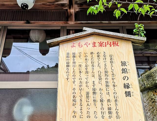 奈良県吉野郡・洞川温泉街「旅館の縁側」(立て札)