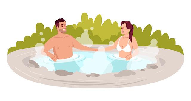 混浴する男女