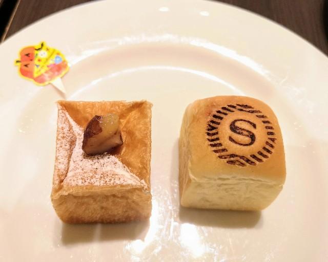 千葉県浦安市・カフェ「トスティーナ」(シェラトン・グランデ・トーキョーベイ・ホテル内 2階)10月限定フライデースイーツブッフェ(かぼちゃあんぱん、栗のキューブクリームパン)
