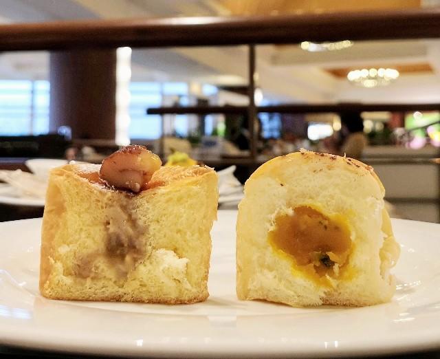千葉県浦安市・カフェ「トスティーナ」(シェラトン・グランデ・トーキョーベイ・ホテル内 2階)10月限定フライデースイーツブッフェ(かぼちゃあんぱん、栗のキューブクリームパン)2
